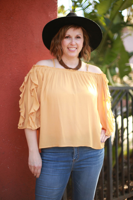 All Ruffled Up Honey Long Sleeve Open Shoulder Top front view.