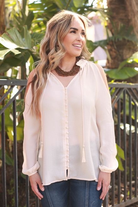 Natural Beauty Flowing Slit Sleeve Open Shoulder Blouse front view.