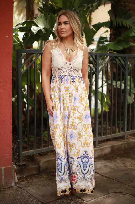 Girls Weekend Paisley Sleeveless Maxi Dress with Crochet Lace Bodice front view.