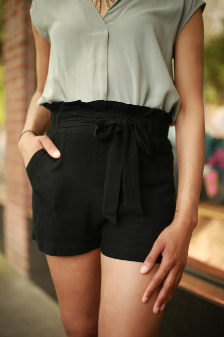 Cute and Classic Black High Waist Paper Bag Shorts front view.
