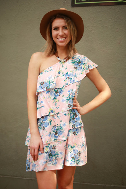 Blushing Beauty Floral One Shoulder Ruffle Dress front view.