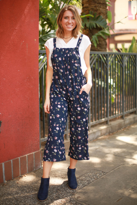 Flower Girl Navy Floral Printed Jumpsuit with Pockets front view.