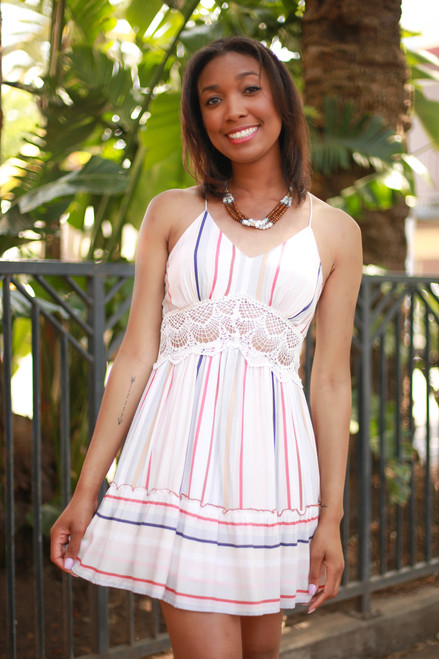 Spring Fling Off White Striped Lace Sundress front view.