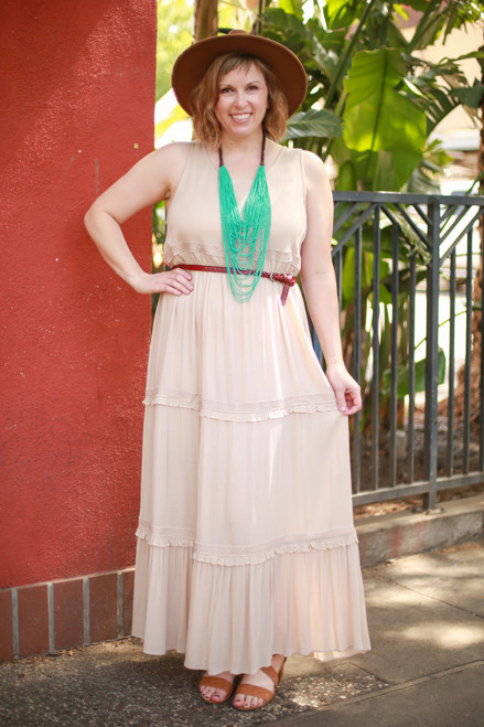 Natural Angel Tiered Ruffle Maxi Dress front view (belted).