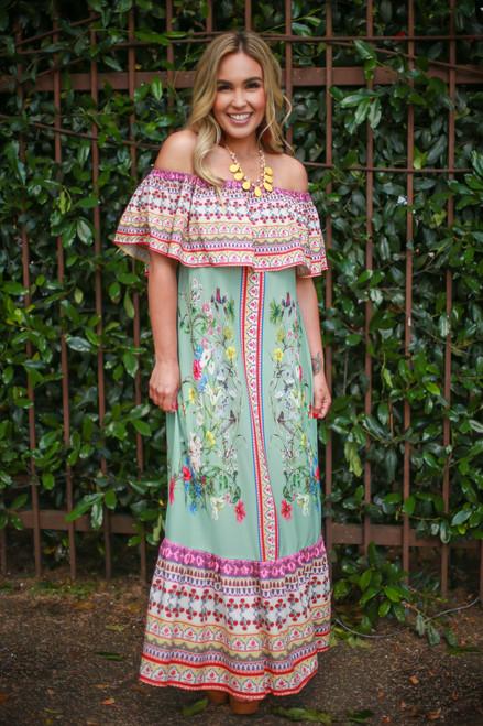 Siesta Dreams Sage Floral Printed Off Shoulder Maxi Dress front view.