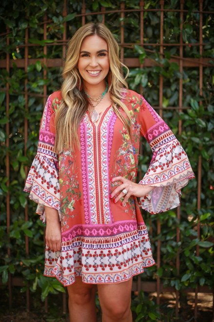 Siesta Time Terracotta Floral Printed Boho Bell Sleeve Dress front view.