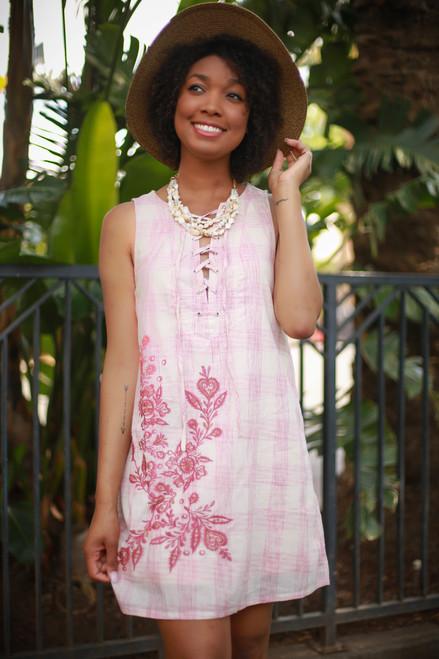 Ravishing in Rose Checker Printed Sleeveless Shift Dress front view.