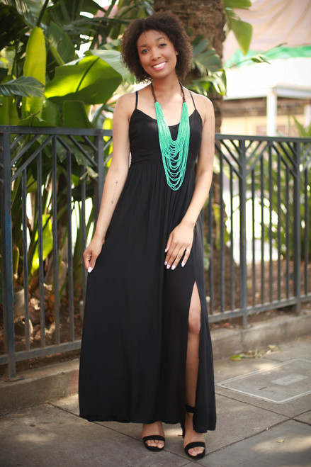 Chic Summer Black Strappy Back Maxi Dress with Slit Skirt front view.
