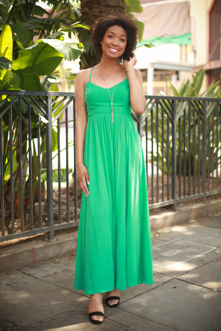 Chic Summer Green Strappy Back Maxi Dress with Slit Skirt front view.
