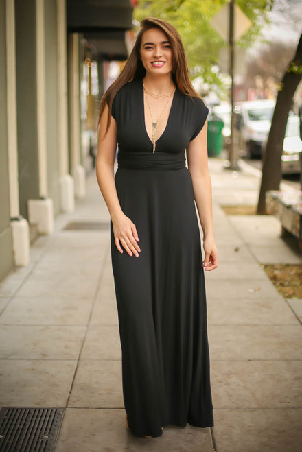 Versatile Style Multi-Way Maxi Dress in Black full body front view (Deep V Cross Back).