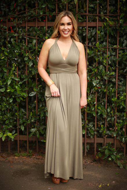 Versatile Style Multi-Way Maxi Dress in Olive front wrap view (Deep V Twist Back).