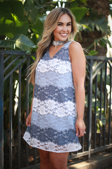 Classy in Dove Color Block Lace Mock Neck Dress front view.