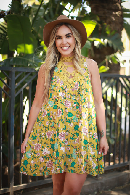 Va Va Voom Citron Olive Floral Print High Neck Sleeveless Dress front view.