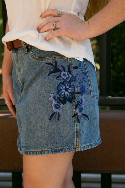 Back To School Denim Embroidered Skirt