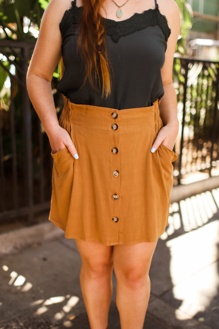 Easy Does It Caramel Button Down Skirt front view.