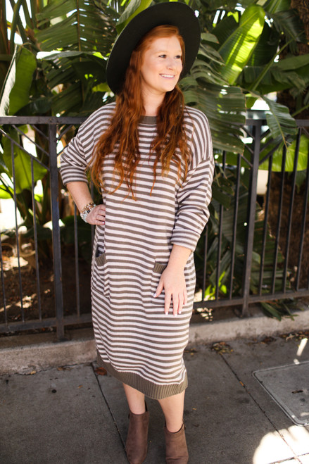 Forever Fall Striped Sweater Dress