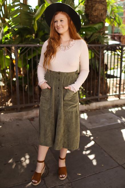 Sweet Seasons Olive Green Corduroy Skirt