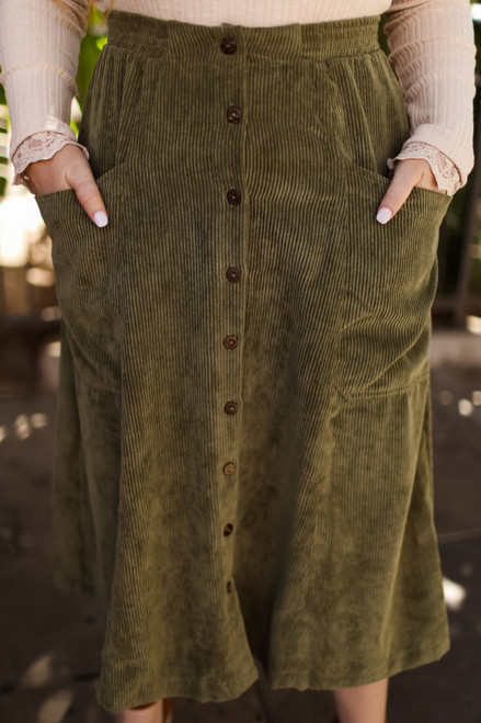 Sweet Seasons Olive Green Corduroy Skirt