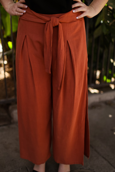 Feel the Breeze Rust Linen Slit Pants