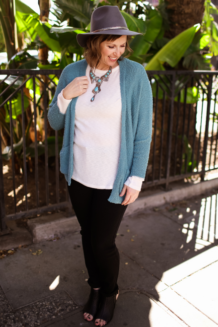 Serenity Dusty Mint Open Front Knit Sweater with Pockets front view.