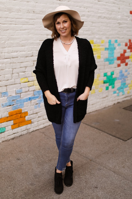 Call it Comfort Super Soft Black Open Front Cardigan with Pockets front view.