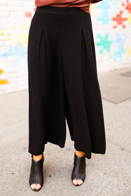 Perfectly Pintucked Black Wide Leg Pants front view.