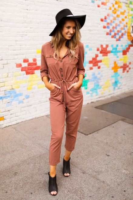 Aviator Vibes Clay Long Sleeve Jumpsuit front view.