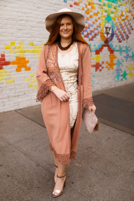 Down to the Canyon Clay Crochet Lace Floor Length Duster