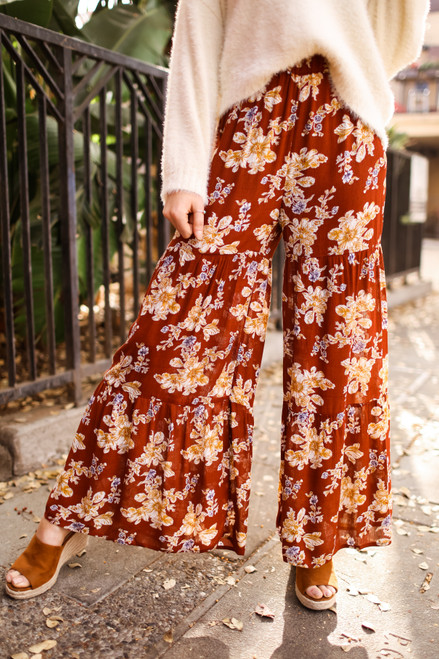 A Floral Queen High Waist Ruffle Wide Leg Pants front view.