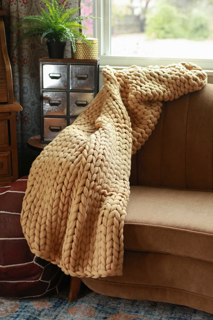 Camel Chunky Knit Throw