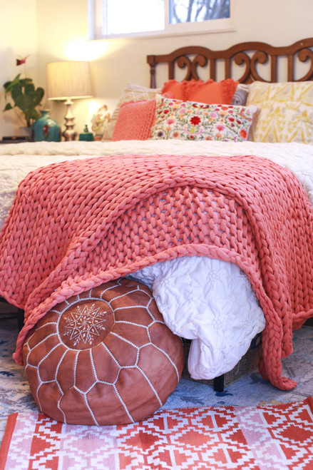 Coral Chunky Knit Throw