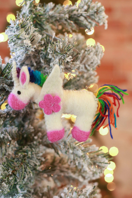 The Winding Road Rainbow Unicorn Ornament