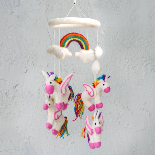 The Winding Road Small Felt Rainbow Unicorn Mobile