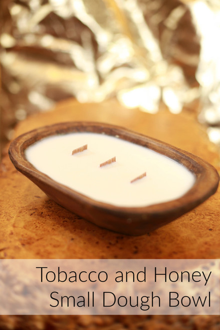 Wood Fire Candle Co. Tobacco & Honey Small Wood Wick Dough Bowl Candle