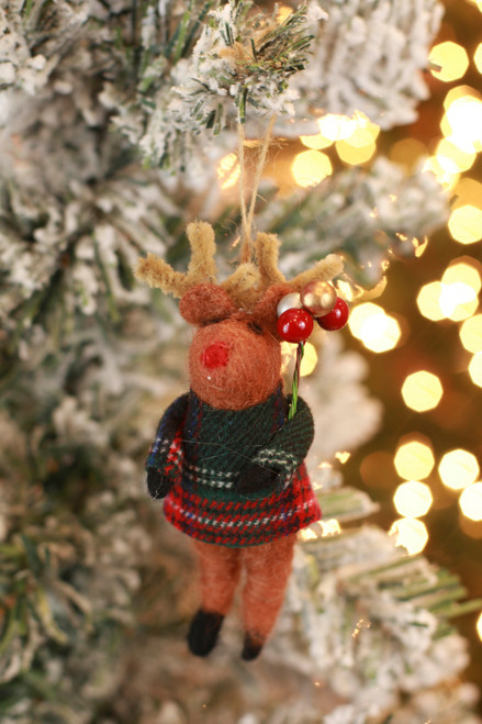 C&F Home Green Plaid Reindeer Ornament