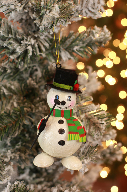 C&F Home Green Happy Snowman Ornament