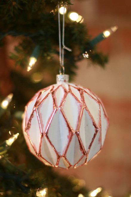 C&F Home Diamond Geometric Rose Gold Ornament