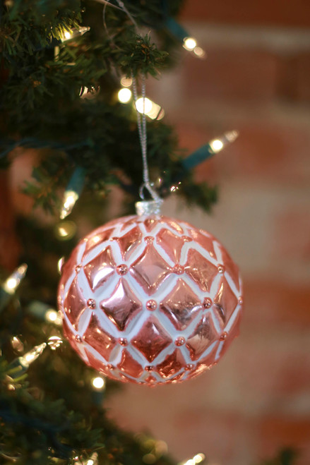 C&F Home Striped Geometric Rose Gold Ornament