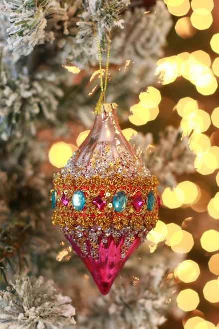 C&F Home Boho Mystical Pink and Magenta Jeweled Ornament