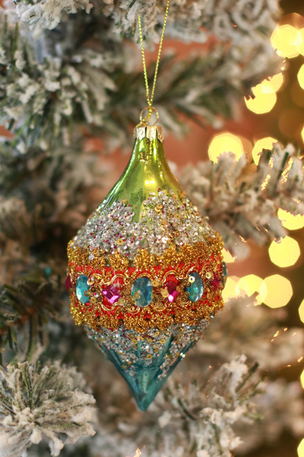 C&F Home Boho Mystical Blue and Green Jeweled Ornament