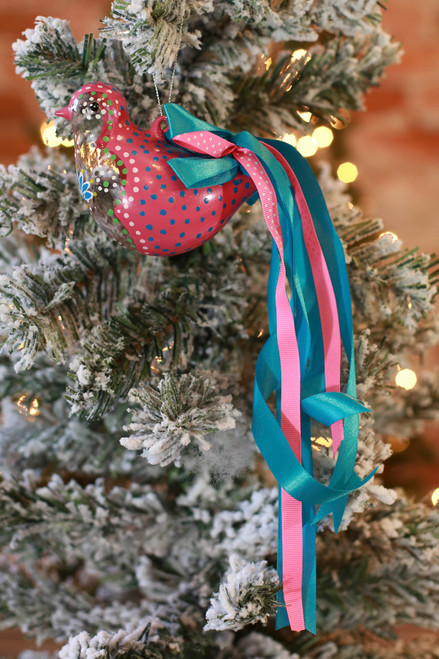 C&F Home Boho Pink Painted Bird Ornament