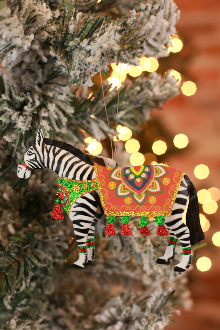 C&F Home Boho Circus Zebra Ornament
