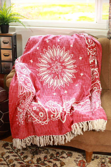 Red Bandanna Woven Cotton Throw Blanket