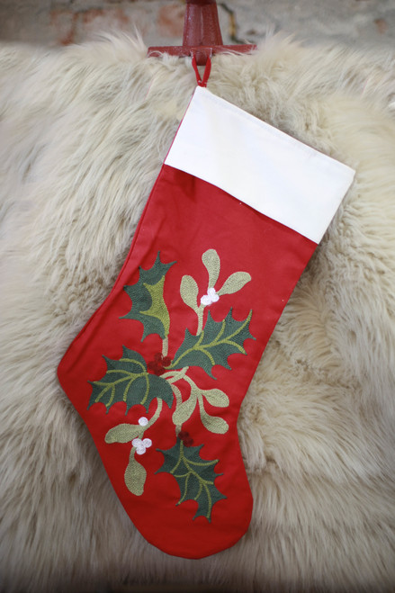 Holly Branch Embroidered Stocking
