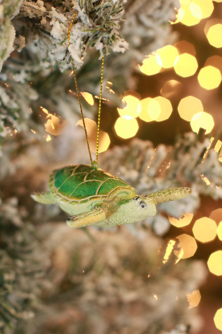 C&F Home Cozumel Sea Turtle Teal Ornament