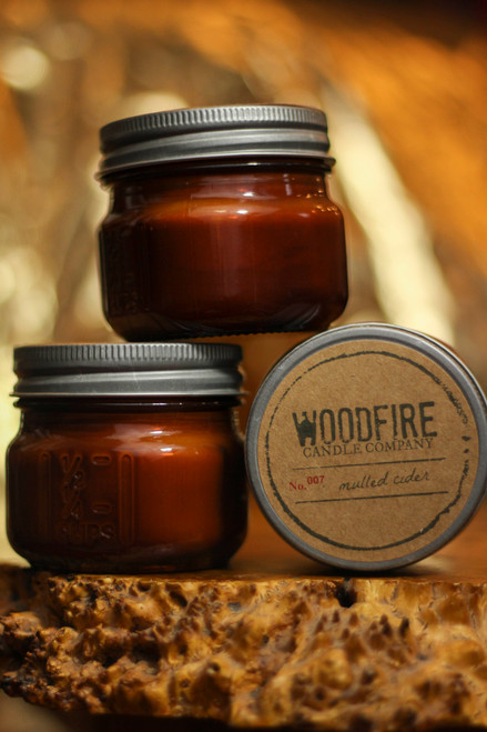 Woodfire Candle Co. Mulled Cider Mini Mason Wood Wick Candle