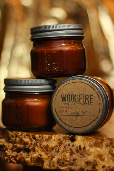 Woodfire Candle Co. Cozy Cabin Mini Mason Wood Wick Candle