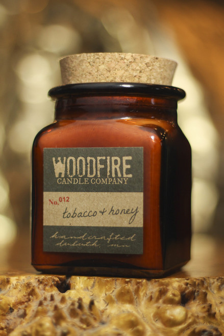 Woodfire Candle Co. Tobacco and Honey Apothecary Wood Wick Soy Candle