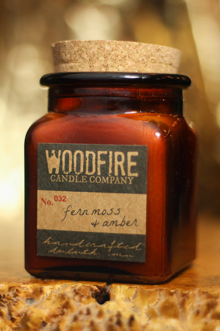 Woodfire Candle Co. Fern Moss and Amber Apothecary Wood Wick Soy Candle