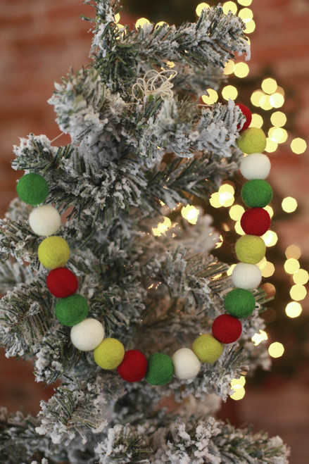 The Mad Padder Joyful Wool Felt Ball Garland